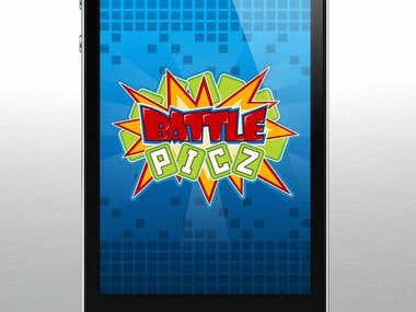 Attractive logo and background for mobile game Battle Picz