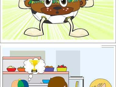 """Illustration of story of \"""" Angry burger\"""""""