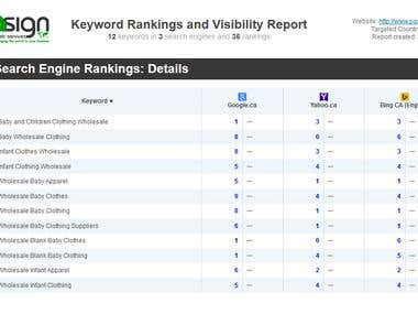 SEARCH ENGINE RANKINGS REPORT