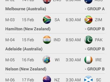 icc world cup and live match score application
