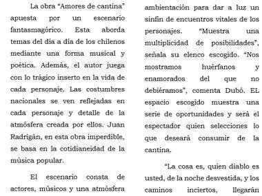 """Sobre \""""Amores de cantina\"""" de Juán Radrigán"""