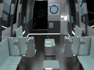 3D Render Interior of a Bus