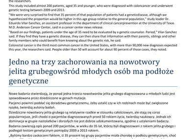 medical article translation ENG to PL