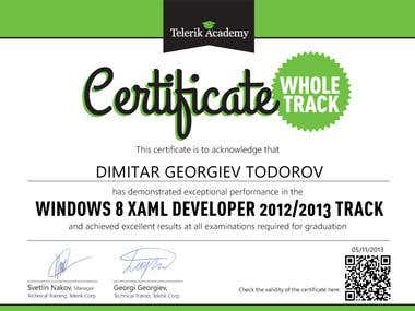 Windows 8 XAML Developer Certificate