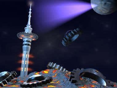 3D modeling -sky tower