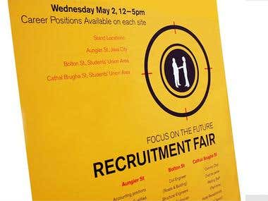 Recruitment Fair Poster, Signage and trifold brochure media.