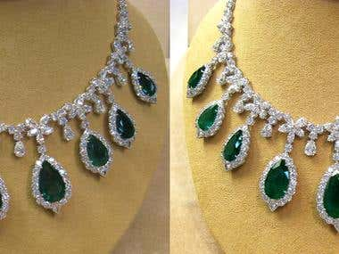 Diamond Emerald Necklace Before and After