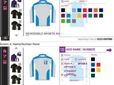 Sports Kit Desginer - A Canvas Application with Joomla Admin