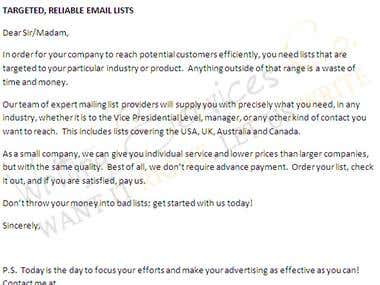 E-mail marketing sample