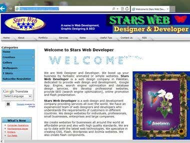 Developed Personal Website starswebdeveloper.tripod.com