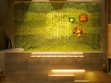 Resin Club Barcelona. Interior design and 3d render
