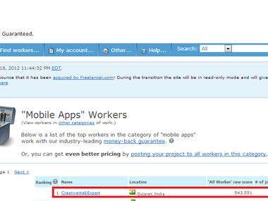 #1 Mobile apps development on vworker out of nearly 3,80,000