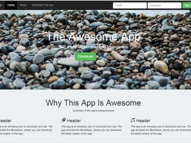 Landing page web app