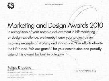 """Hewlett Packard \""""Marketing & Design Award\"""""""