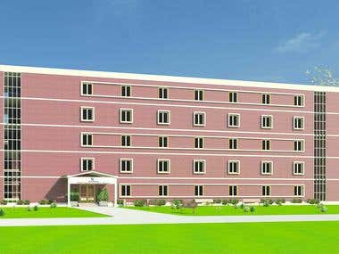 Perspective view of NRI Hostel.