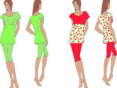 Sketches of women\'s sleepwear.