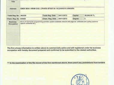Certificate:  Chamber Registration
