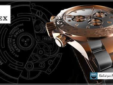 Rolex Commercial Packshot 3D rendering