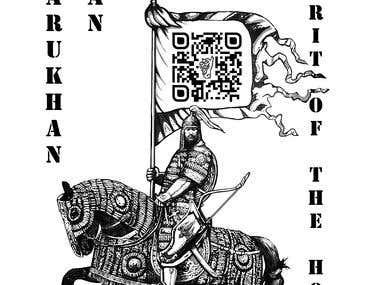 T-shirt print with mongolian warrior
