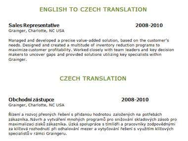 English to Crech