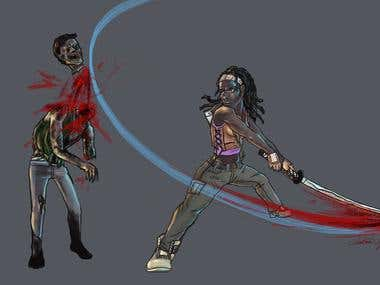 Michonne Kicking Ass and Taking Names