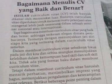 Bagaimana menulis curiculum vitae (cv) yang baik dan benar