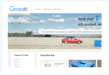 groono classified homepage all done in php html css, ajax,
