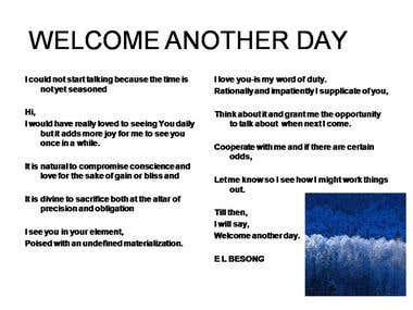 Welcome another day