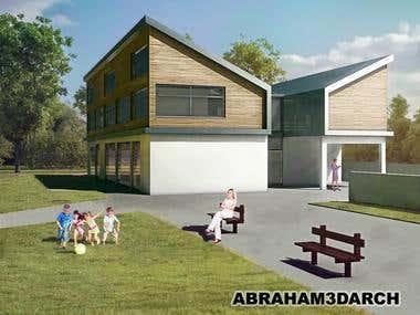 Creation of 3d visualization of a kinder garden building.