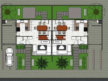 Row House\'s color plan + Isometric View.