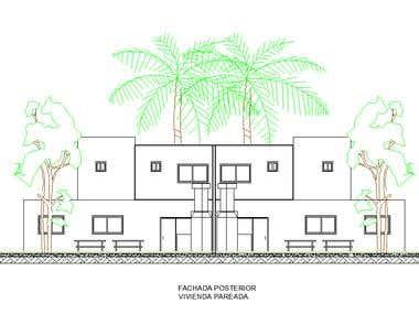 Row House\'s Facades + Cross section.