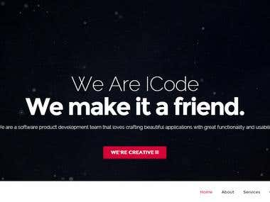 One page modern website for ICode