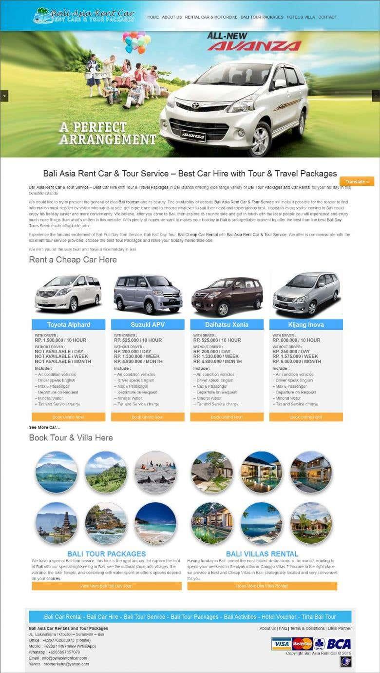 Design Website Bali Asia Rent Car Tour Service Freelancer