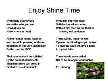 Enjoy shine time