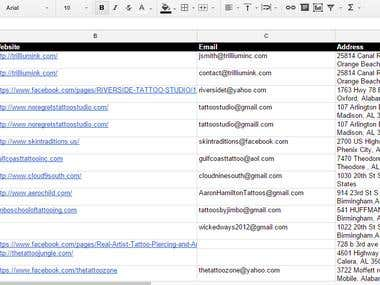 Email Marketing Database for Tattooist and Tattoo studios