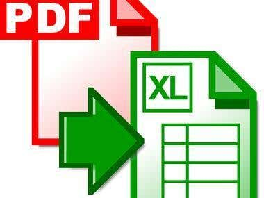 Convert PDF files into EXCEL files.