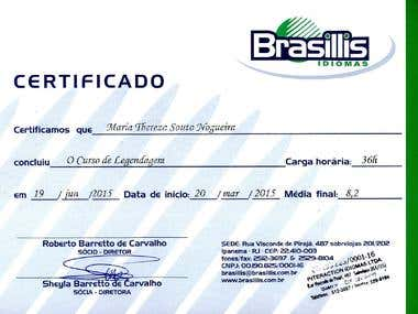 Brasillis Certification on Subtitling