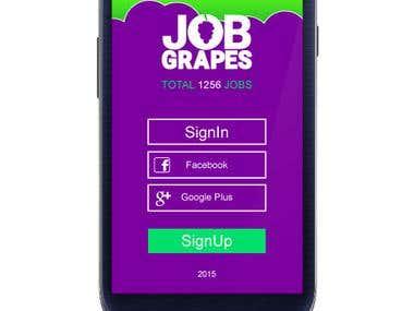 JobGrapes - Login screen - Android app