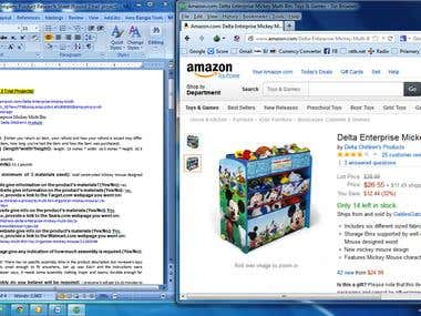 Amazon product research and Entry in to the Microsoft Word