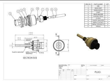 Assembly Drawing with BOM & manufacturing drawings.