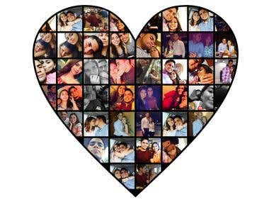 Photo Collage with a heart shape