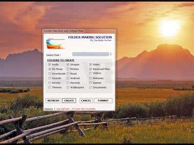 Folder Making And Disk Formatter Application