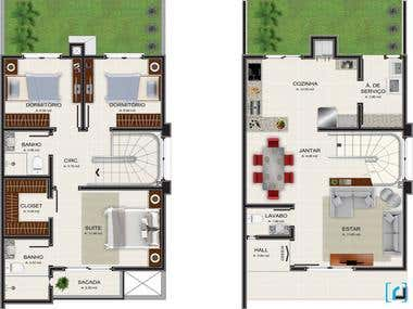 Graphic architectural floor plans