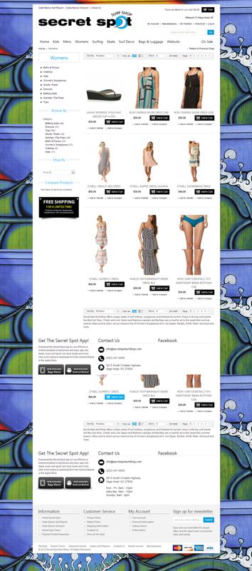 Magento eCommerce Store - http://www.secretspotsurfshop.com