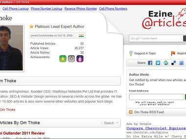 I'm a Platinum Level Ezine Author