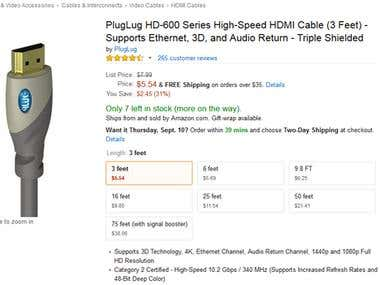 Amazon HDMI Cable Variations Listings
