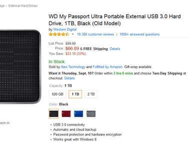 Amazon Hard Drive Variations Listings