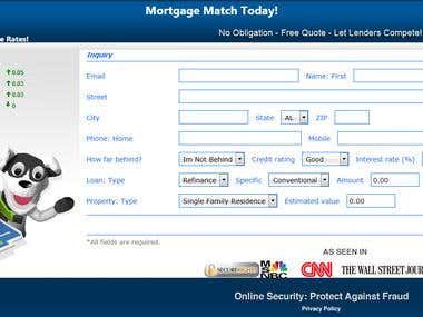 Mortgage lead collection form with automatic API processor