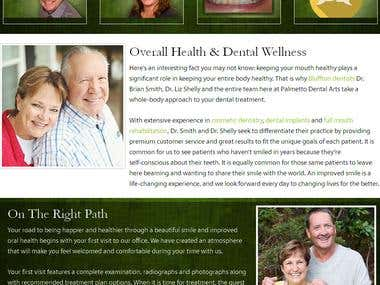 Custom Wordpress Site which focuses on the Dental Business