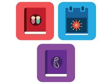 Icon designs for Baby Names, Period Tracker, Pregnancy Book